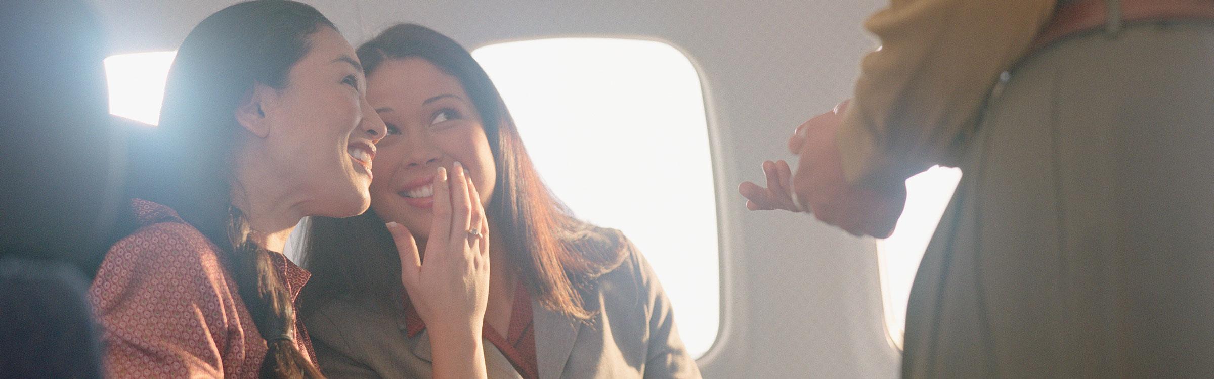 Flirten in het vliegtuig