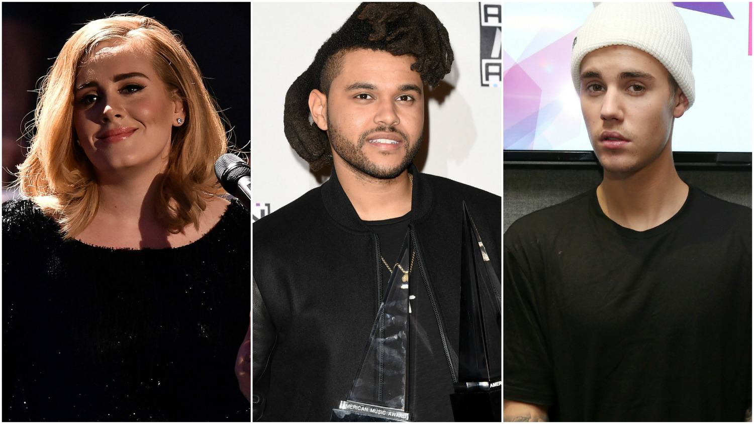 Adele the weeknd justin bieber