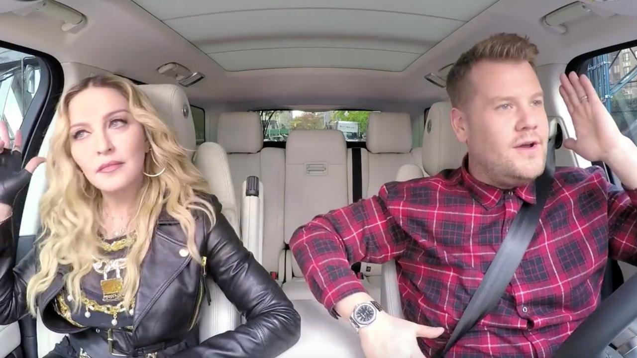 James corden geeft voorproefje van carpool karaoke met madonna